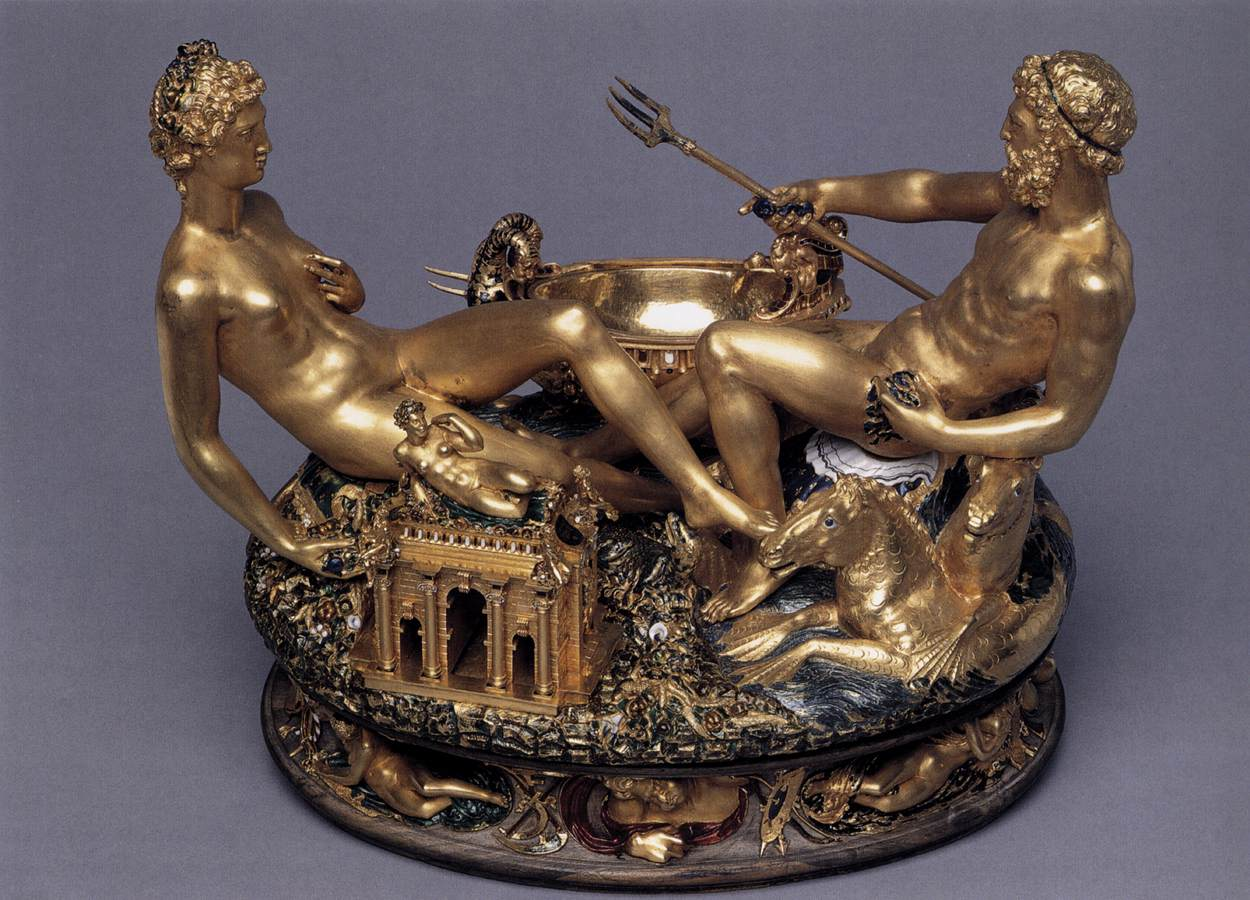 Benvenuto Cellini - Solniczka Franciszka I, Salt Cellar 1540-44 Gold, enamel and ebony, 26 x 33,5 cm Kunsthistorisches Museum, Vienna.jpg